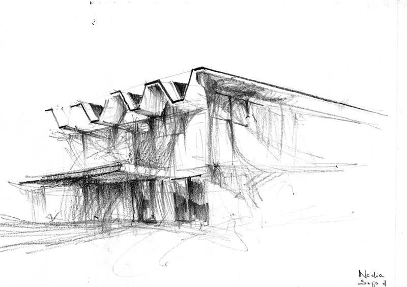 Szkic architektoniczny wykonany ołówkiem