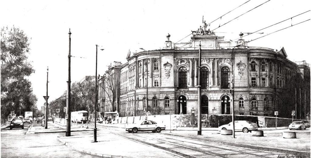 Rysunek architektury ołówkiem Politechnika Warszawska