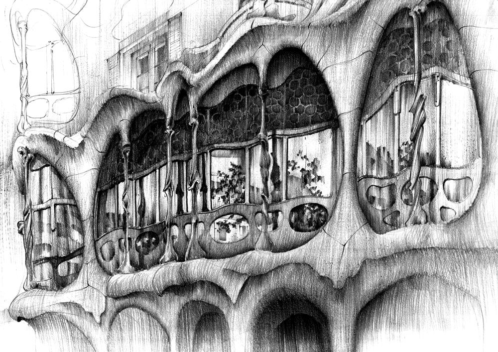 casa batlo rysunek ołówkiem piotra banaka