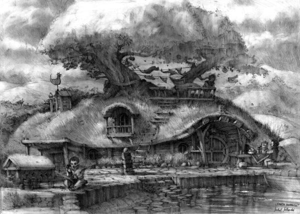 rysunek ołówkiem chata hobbita wycieruch