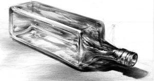 rysunek ołówkiem szklana butelka