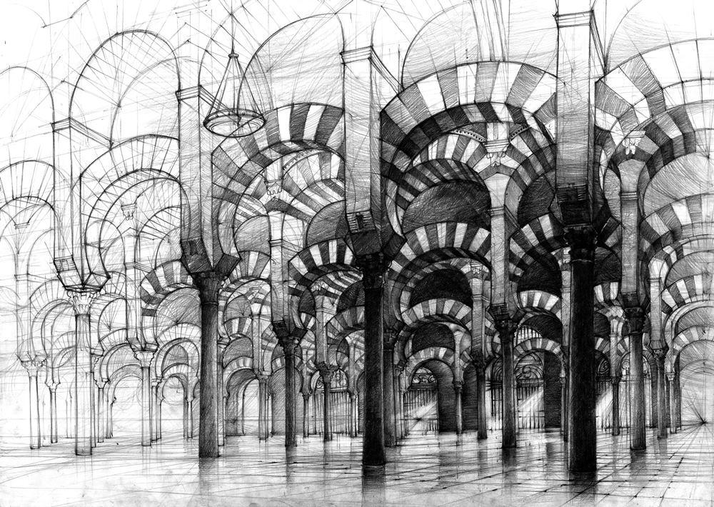rysunek ołówkiem wielki meczet w kordobie