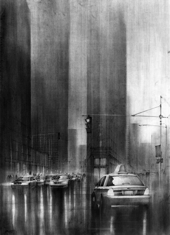 rysunek miasta węglem